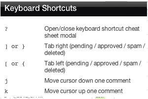 Keyboard shortcuts for faster moderation