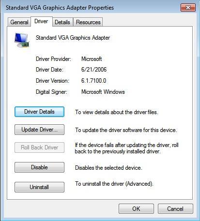 standard vga graphics adapter driver windows 7 64 bit asus