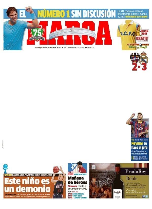 Portada Diario Marca 06/10/2013